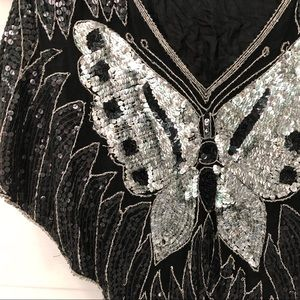 VINTAGE Fabulous Sequin Butterfly Poncho
